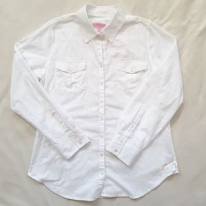 Lilly Pulitzer White Cotton Resort Fit Shirt